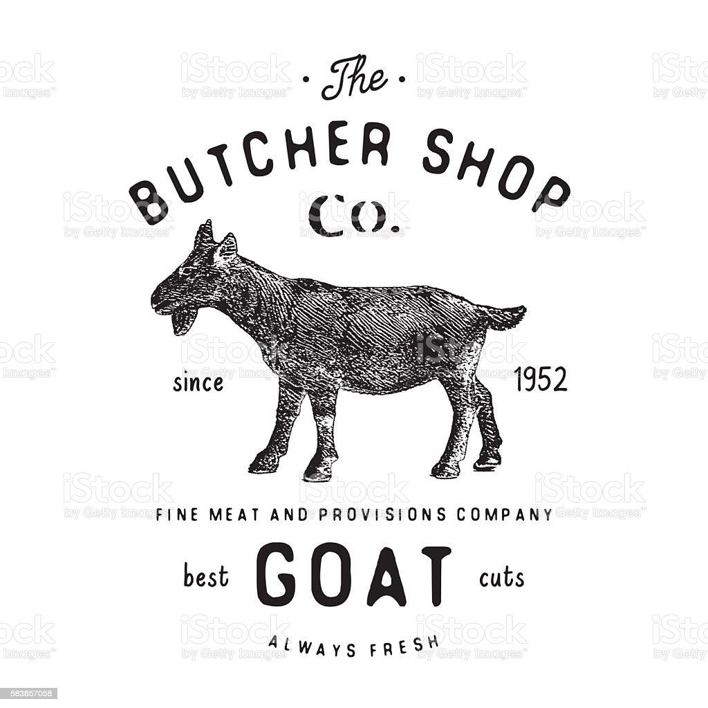 Butcher Shop vintage emblem goat meat products, butchery Label, vector vector art illustration