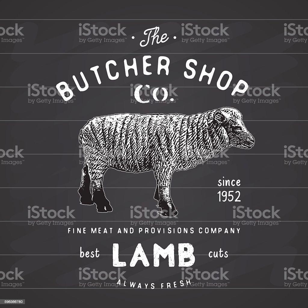 Butcher Shop vintage emblem lamb meat products, butchery Label. vector vector art illustration