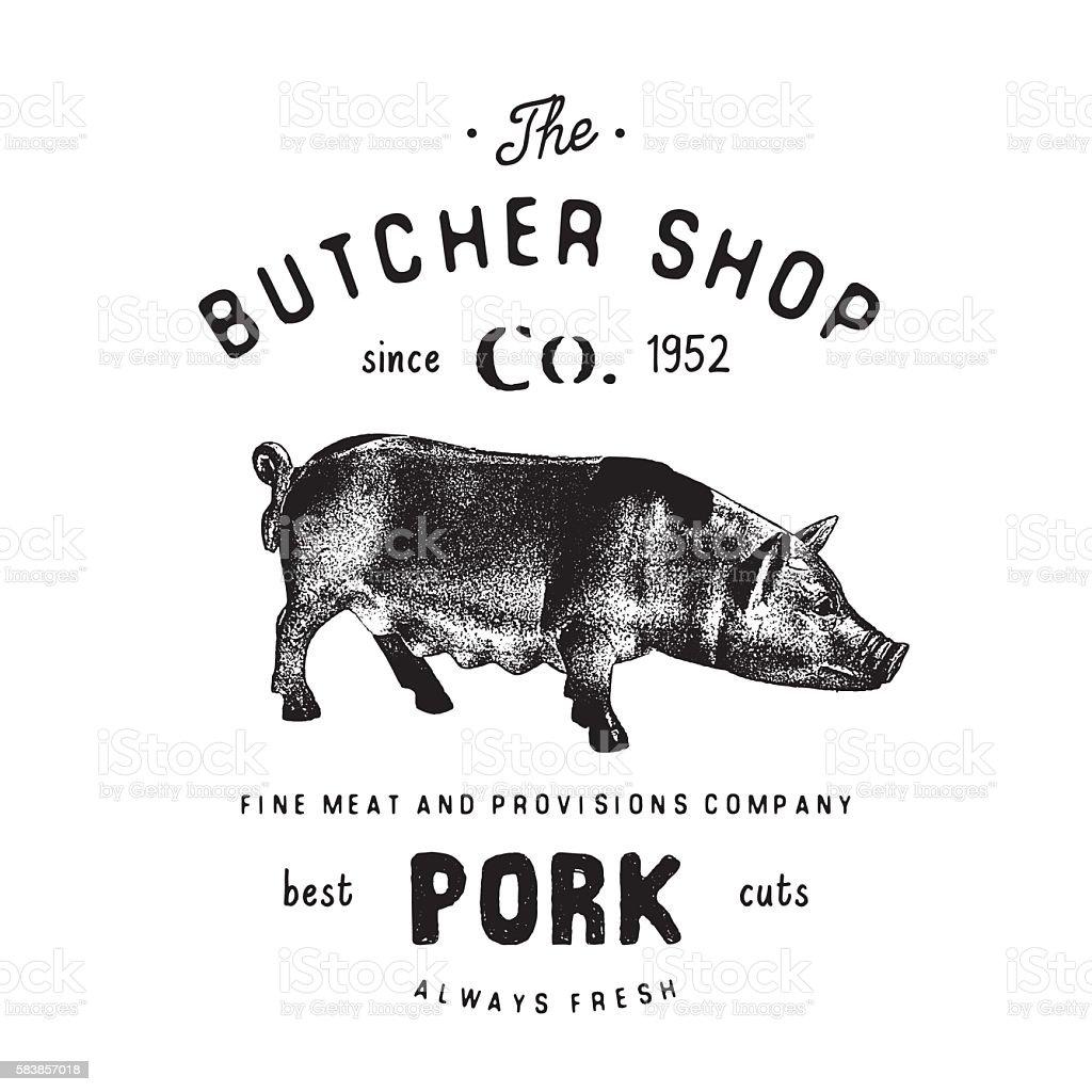 Butcher Shop vintage emblem pork meat products, butchery Label, vector vector art illustration
