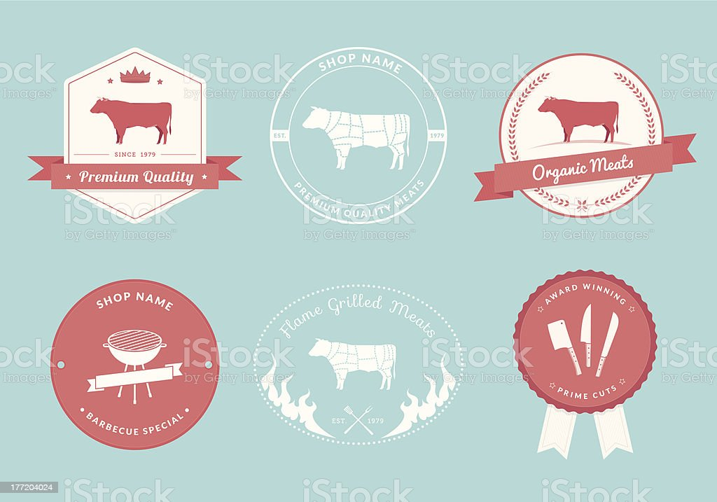 Butcher's Shop Label Designs, Beef Collection royalty-free stock vector art