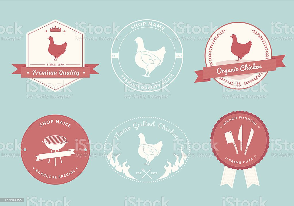Butcher's Shop Label Designs, Chicken Collection royalty-free stock vector art