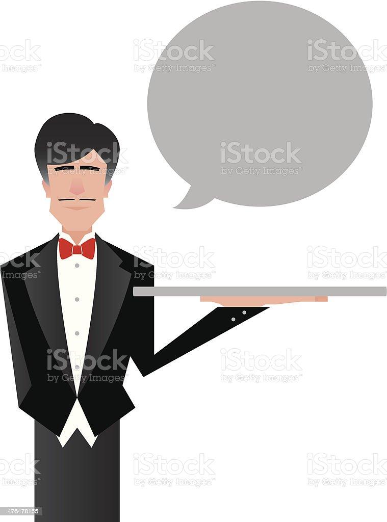 Butler Cartoon vector art illustration
