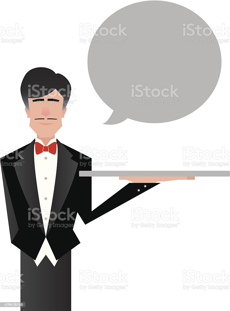 Butler Cartoon vector art illustration