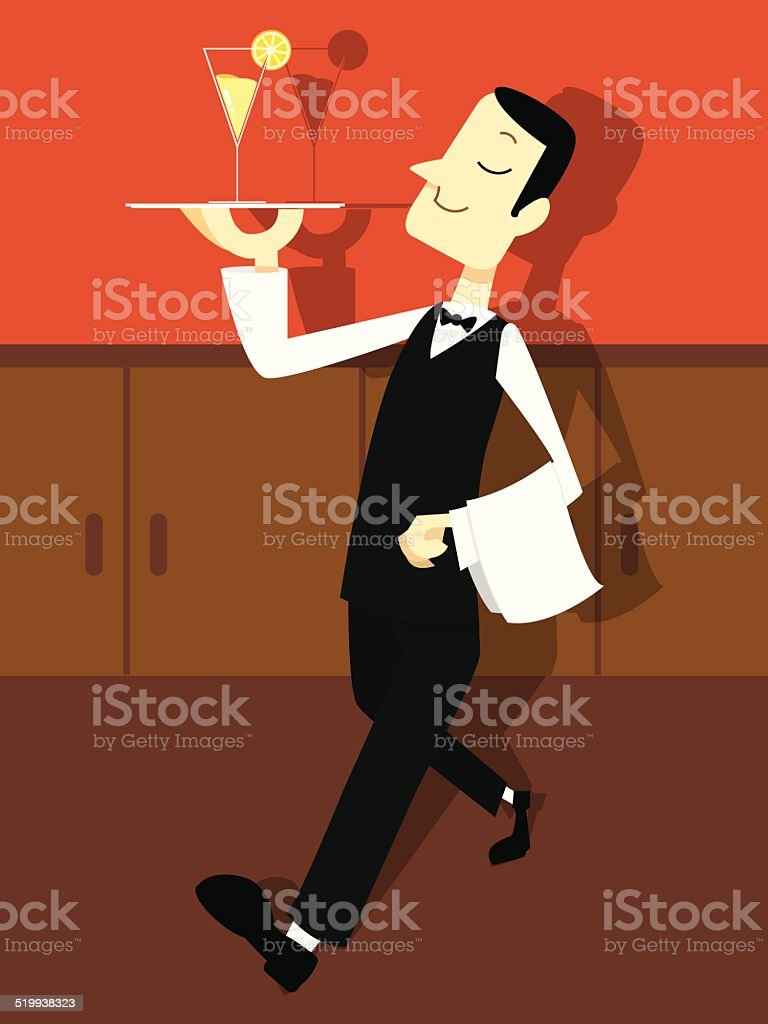 Butler Holding a Tray with a drink vector art illustration