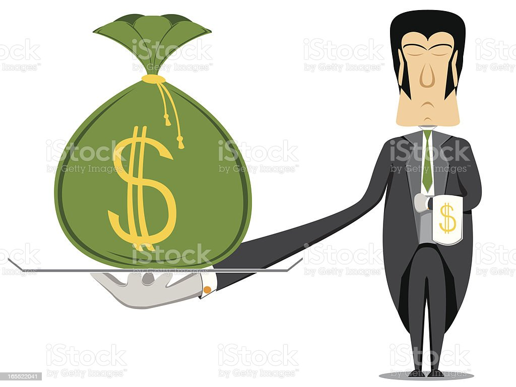 butler with a money bag vector art illustration