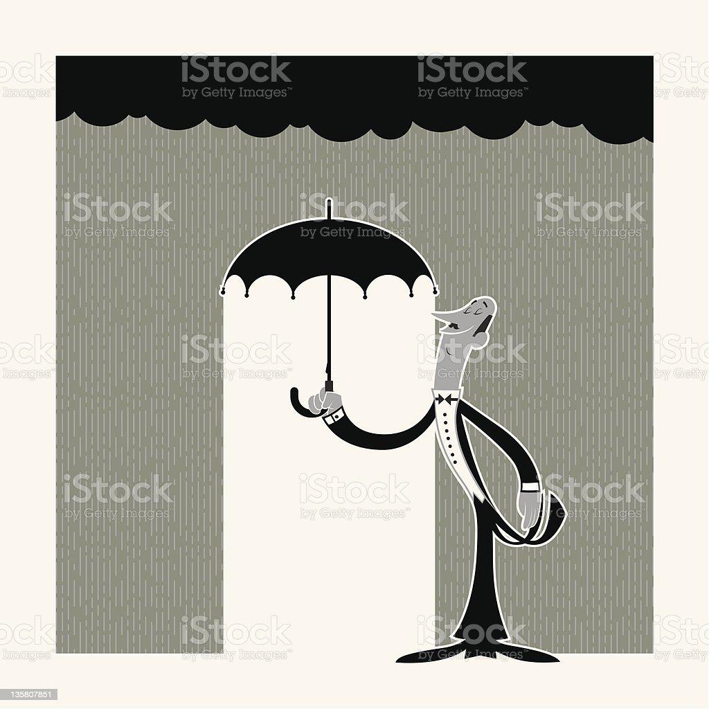 Majordome avec parapluie stock vecteur libres de droits libre de droits