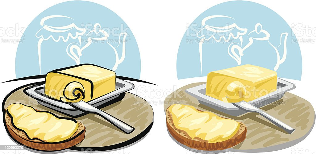 butter and sandwich royalty-free stock vector art