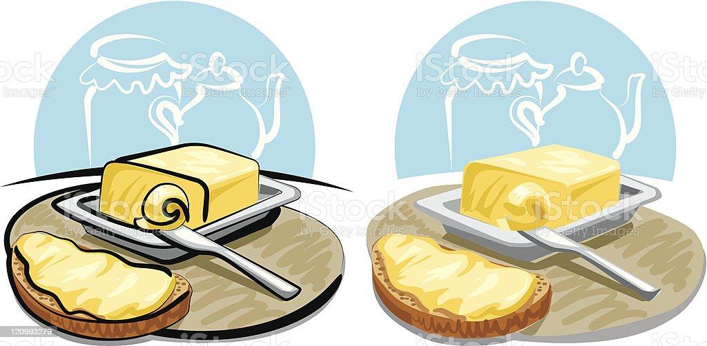 butter and sandwich vector art illustration