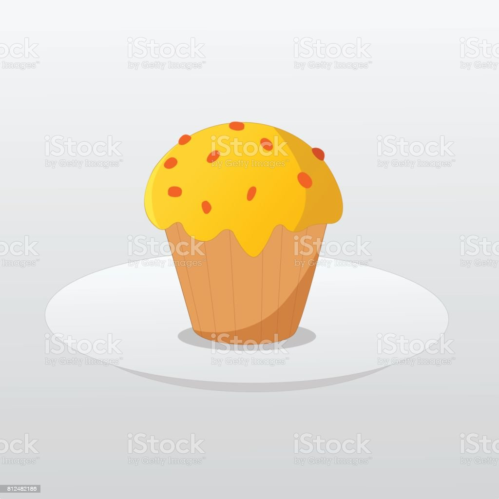 Butter cup cake on dish and gradient background vector vector art illustration
