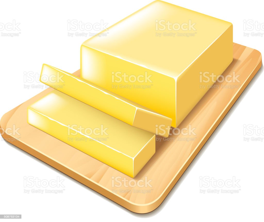 Butter on cutting board isolated vector vector art illustration