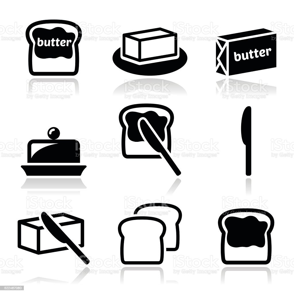 Butter or margarine vector icons set vector art illustration