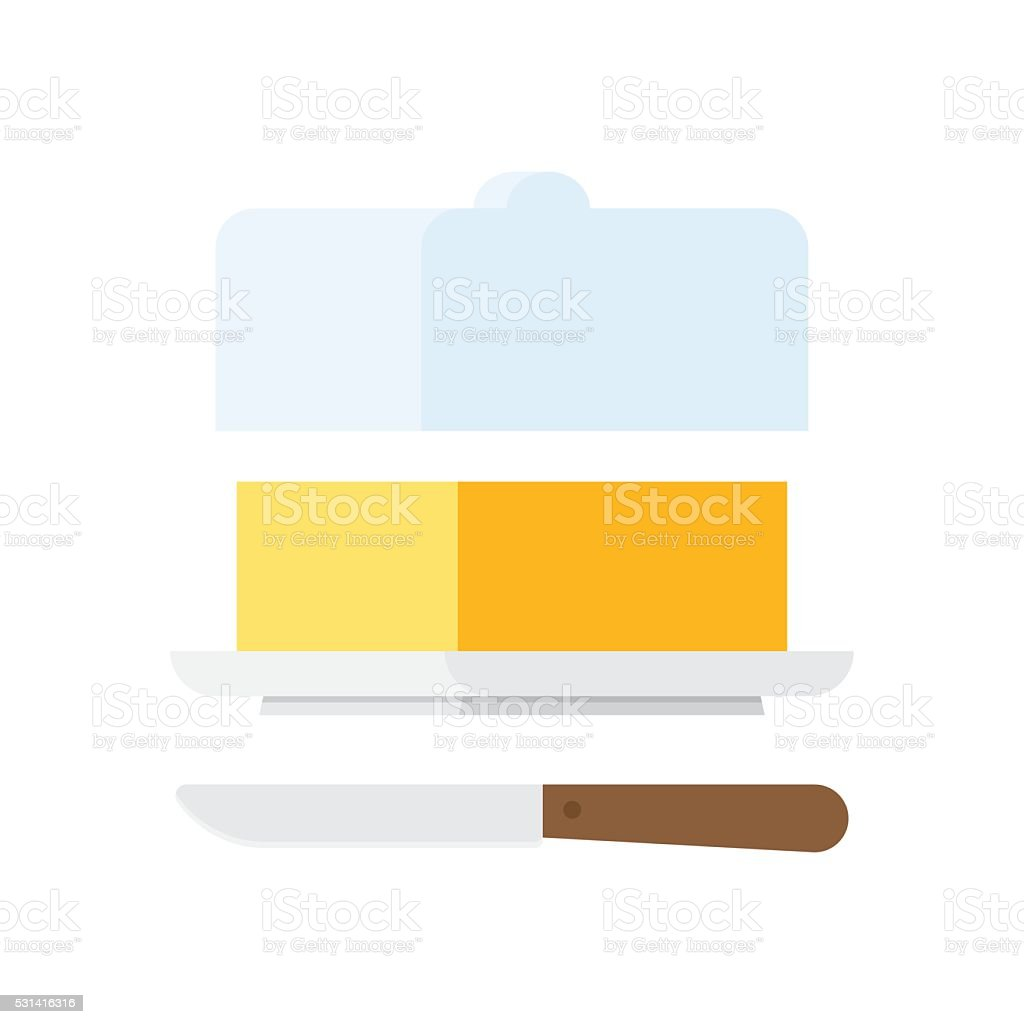 Butter stick with knife vector art illustration
