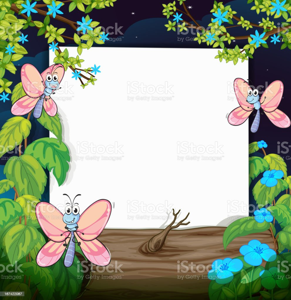 Butterflies and a white board royalty-free stock vector art