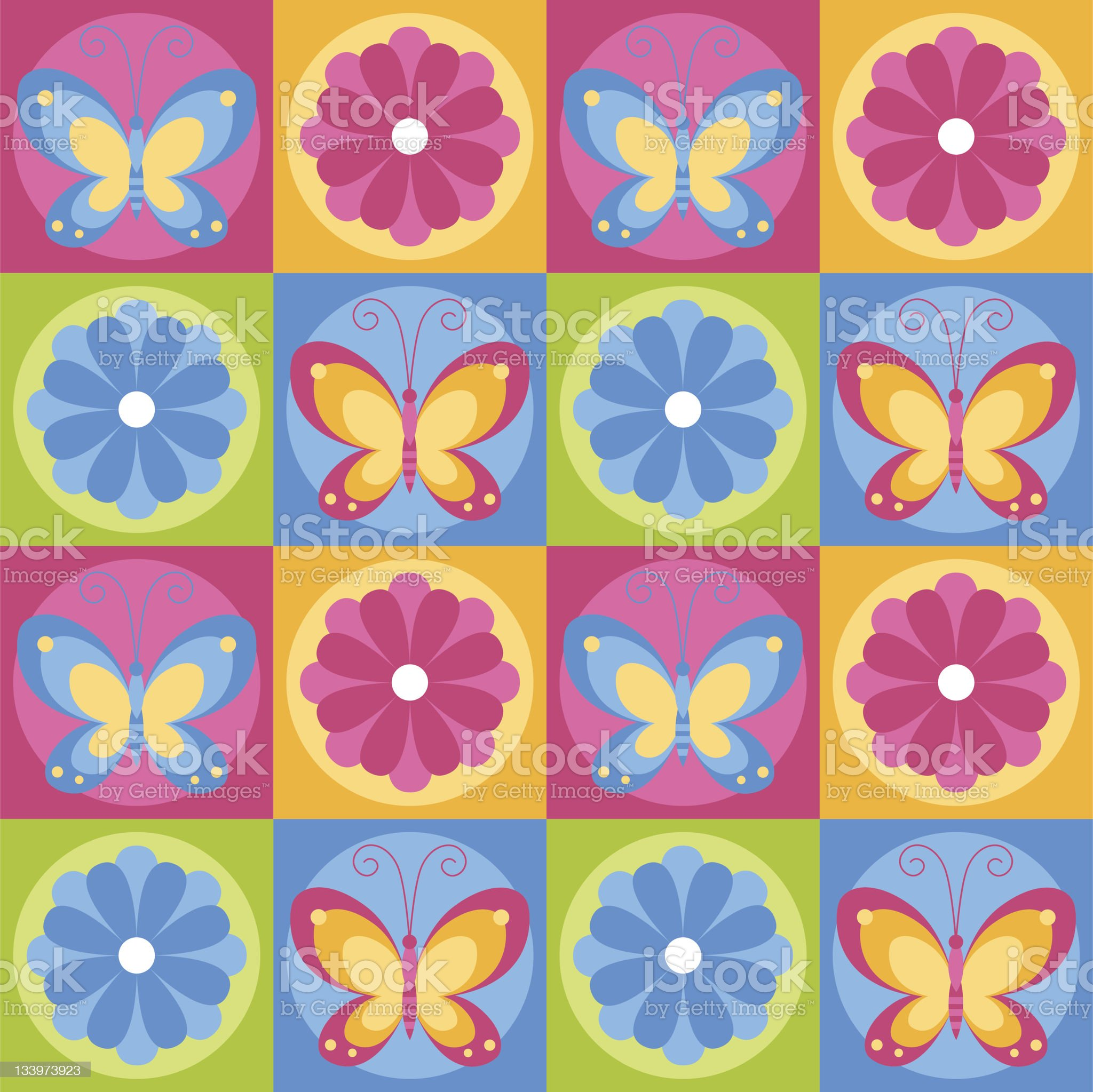 Butterflies and flowers royalty-free stock vector art