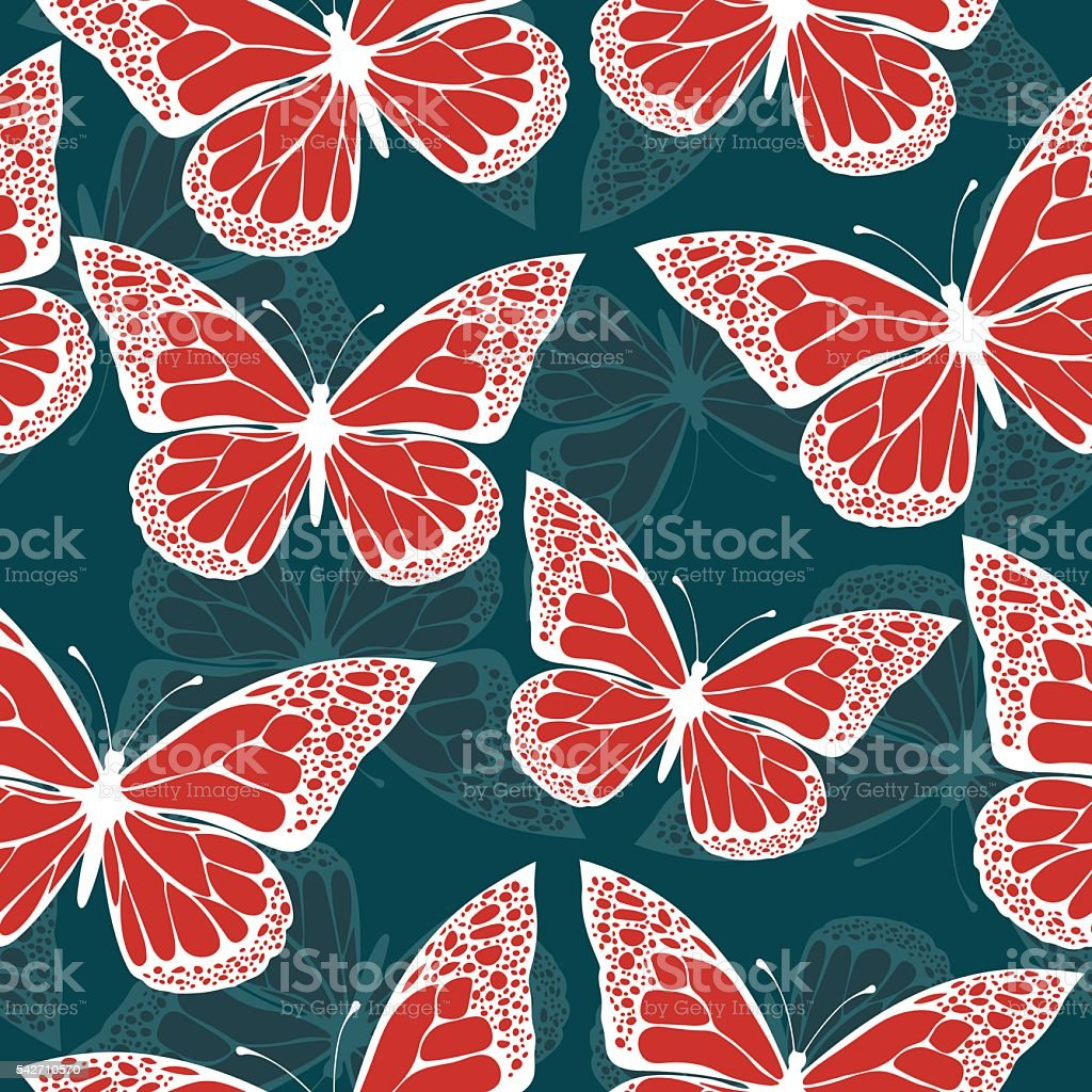 Butterflies colored with ornament seamless pattern, in style boho, hippie royalty-free stock vector art