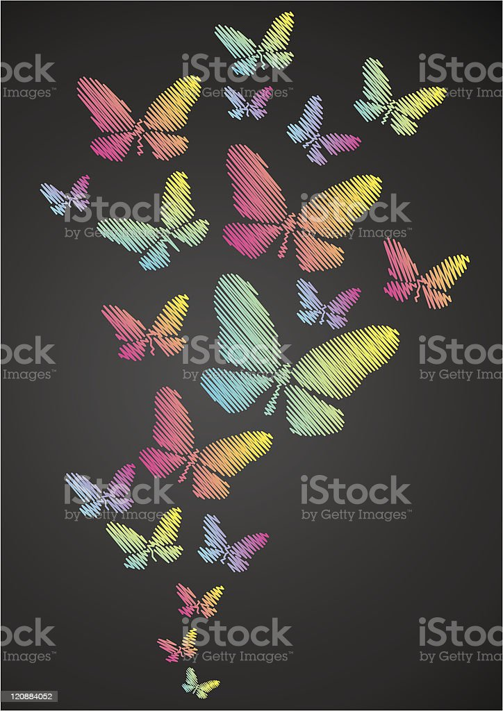 Butterflies drawn in chalk royalty-free stock vector art