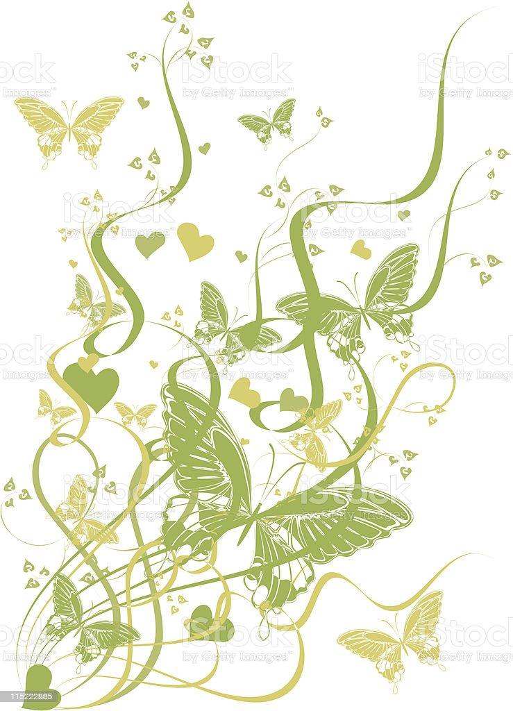 butterflies in spring green leaves - vector royalty-free stock vector art