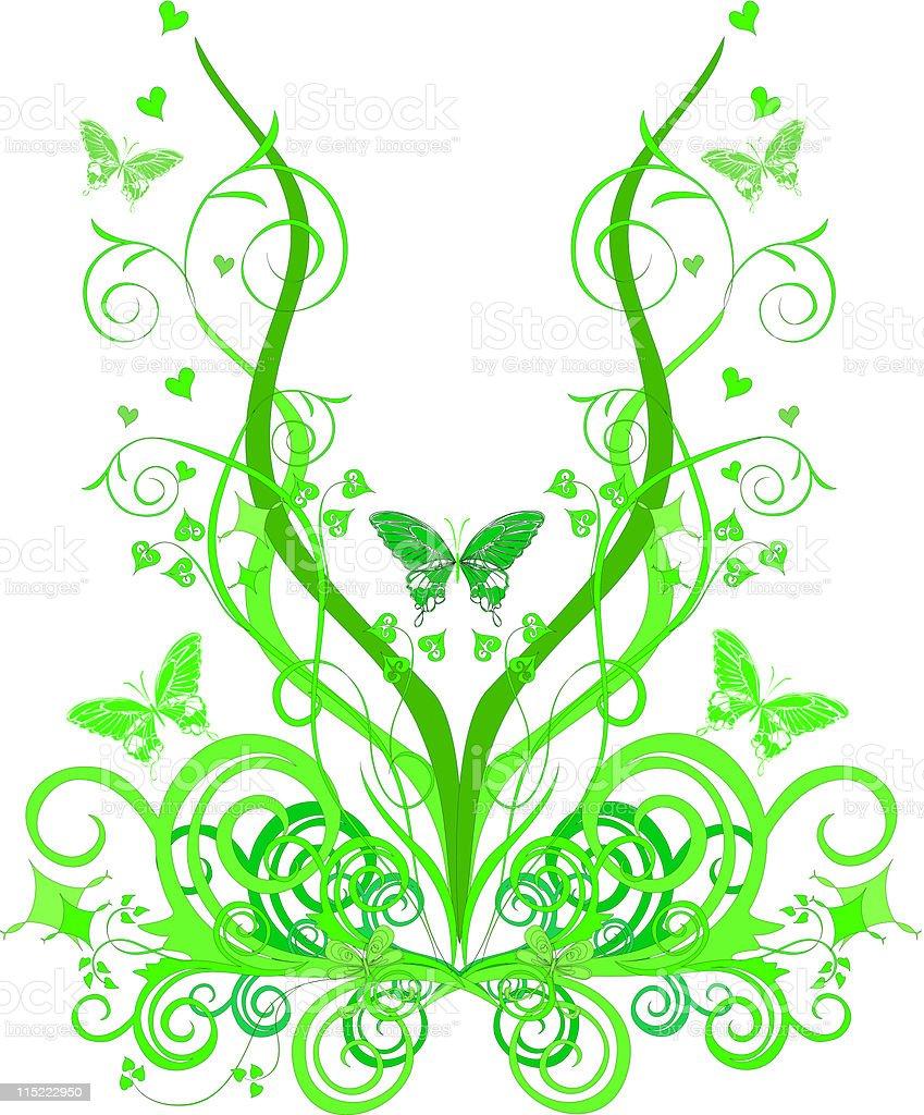 butterflies in spring green leaves - vector vector art illustration