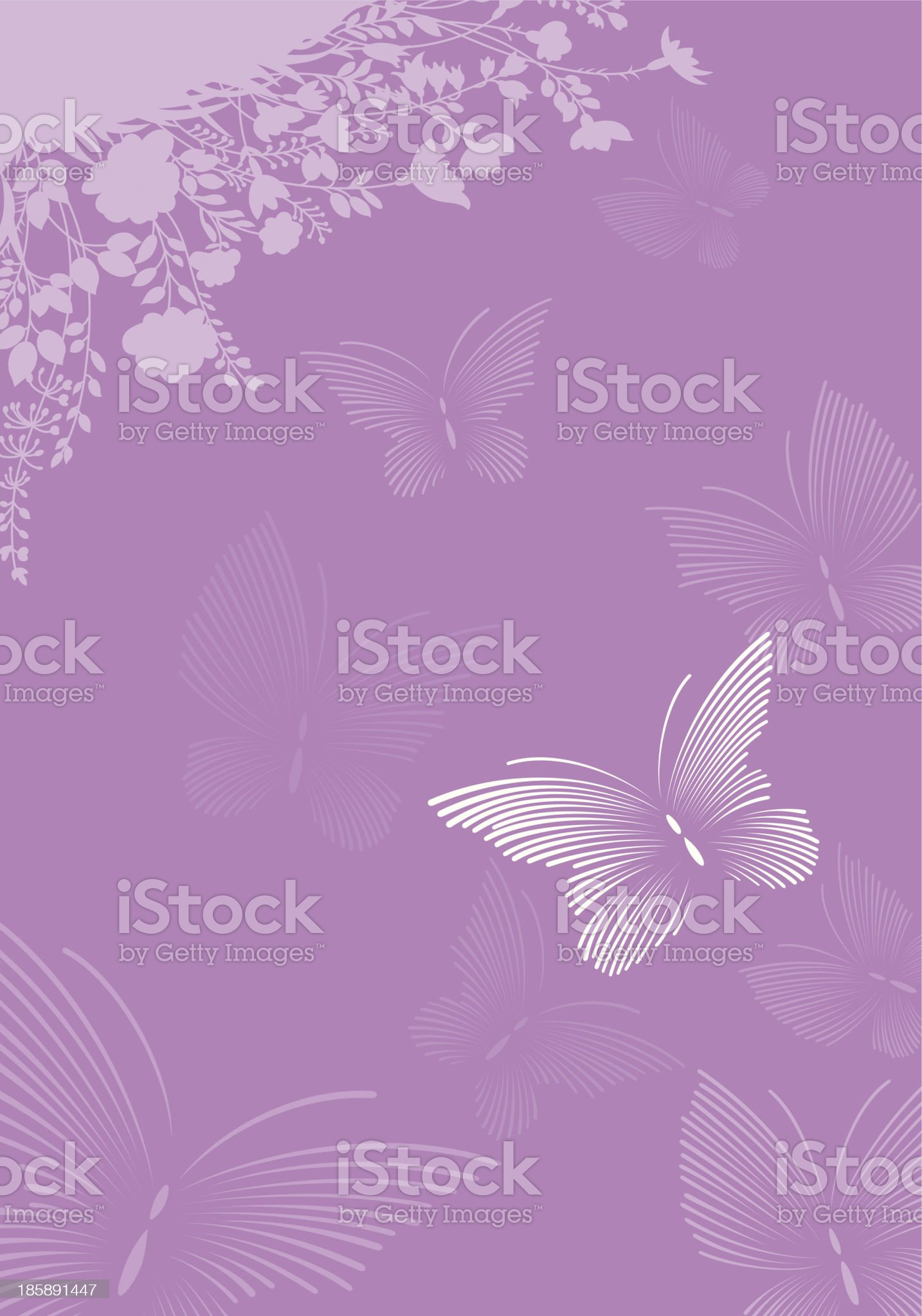Butterflies in the flowers royalty-free stock vector art