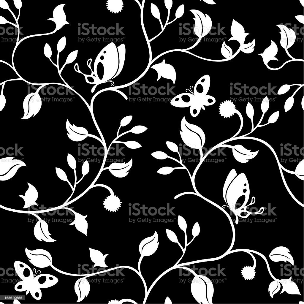Butterflies in the leaves (seamless background) vector art illustration