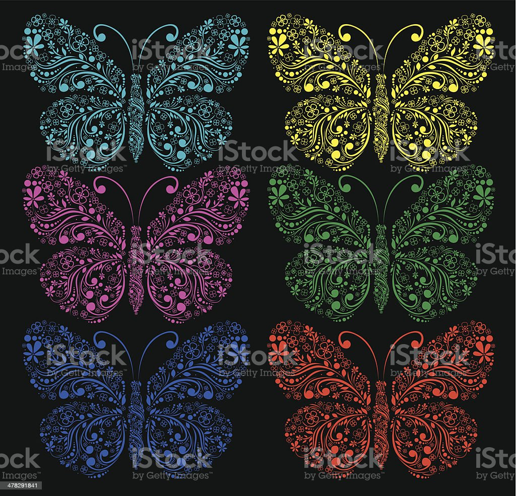 Butterflies on a black background royalty-free stock vector art
