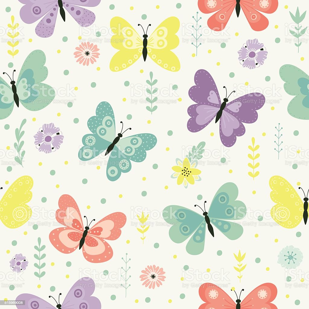 butterflies pattern vector art illustration