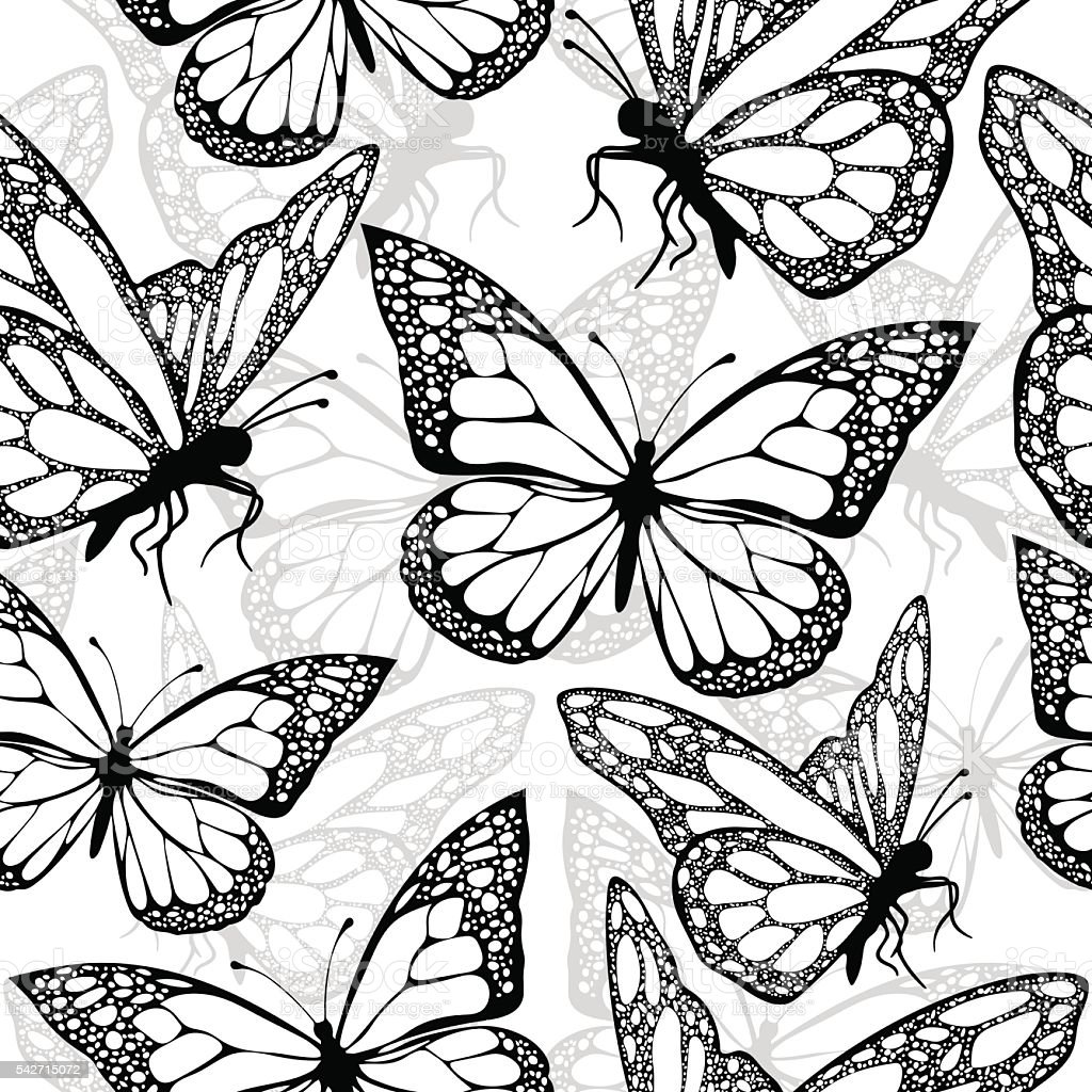 Butterflies seamless pattern, monochrome, coloring book, black and white illustration royalty-free stock vector art