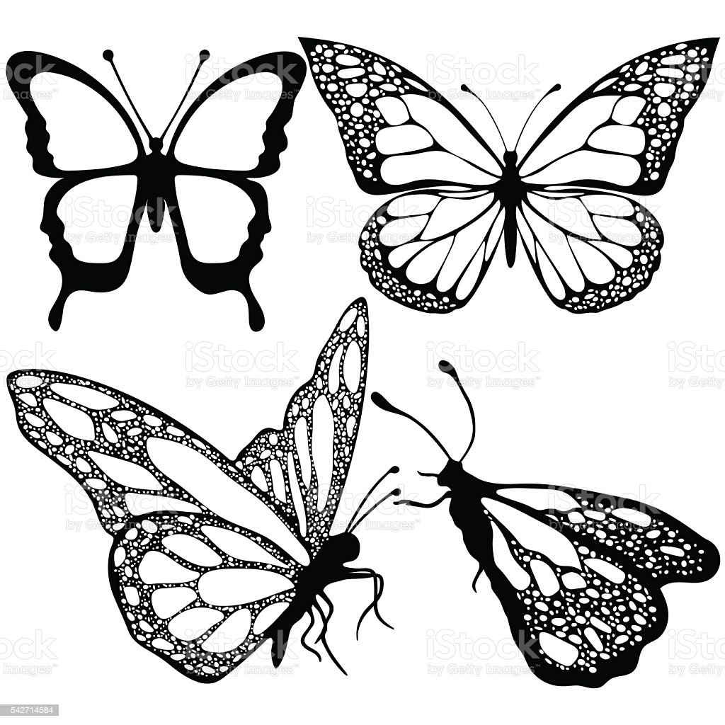Butterflies set, monochrome, coloring book, black and white illustration royalty-free stock vector art