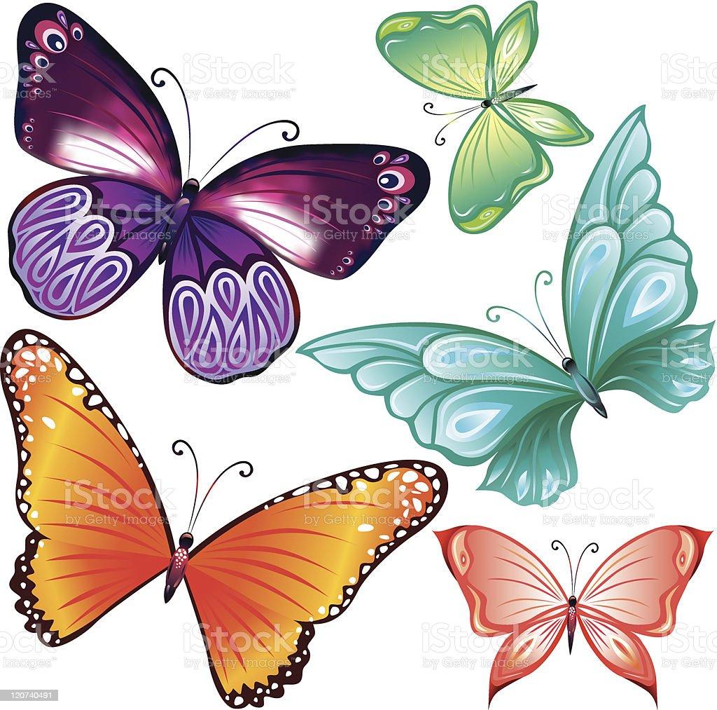Butterflies set royalty-free stock vector art