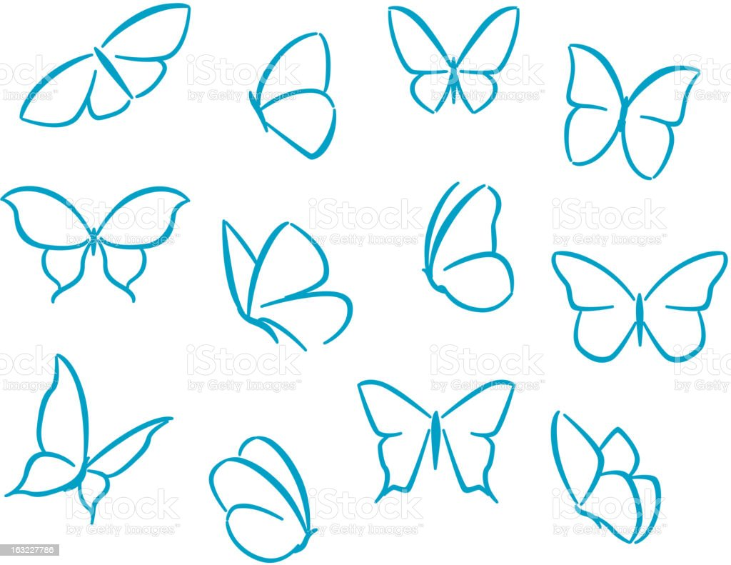 Butterflies silhouettes royalty-free stock vector art