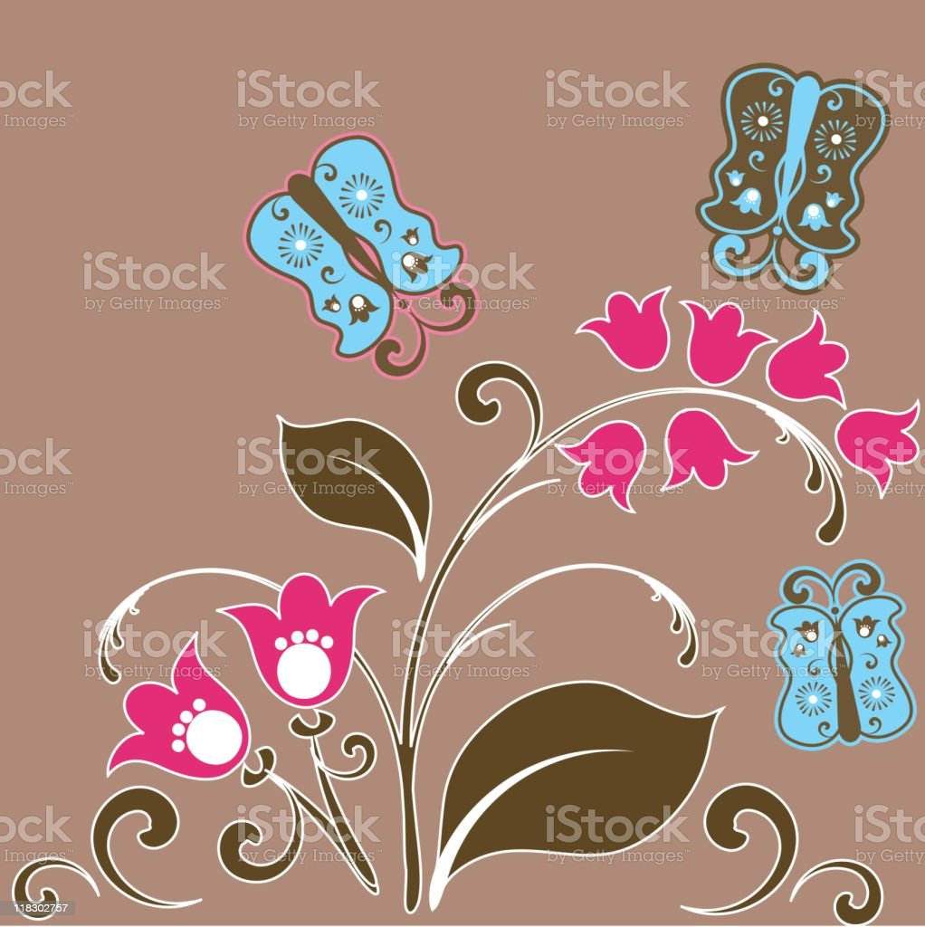 Butterflies with flowers and leaves royalty-free stock vector art