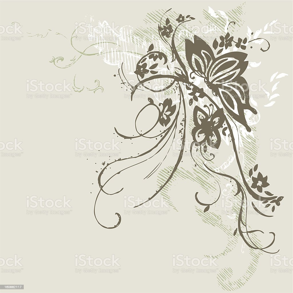 Butterfly and Flowers royalty-free stock vector art