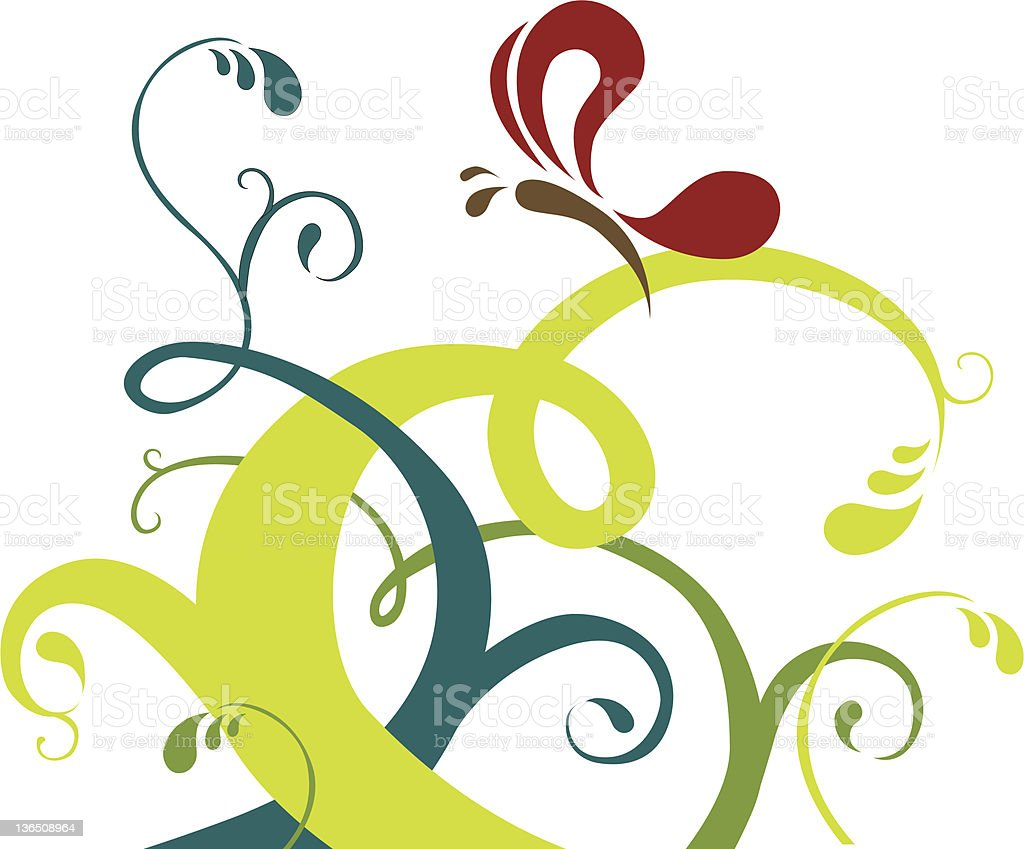 Butterfly and Vines vector art illustration