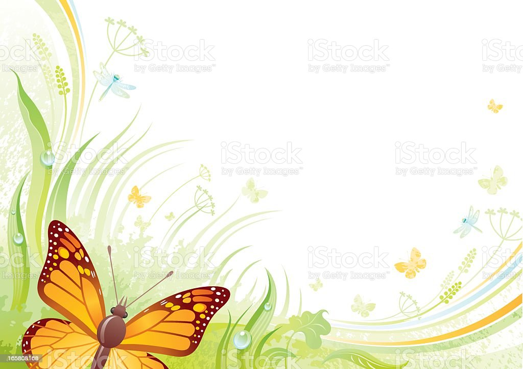 Butterfly background with copyspace vector art illustration