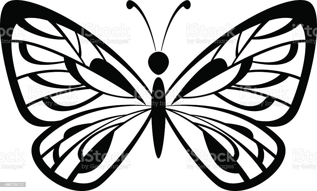 Butterfly Black Pictogram vector art illustration