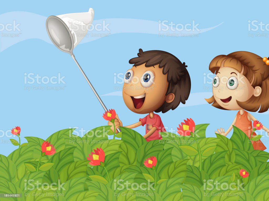 Butterfly catchers in the garden royalty-free stock vector art