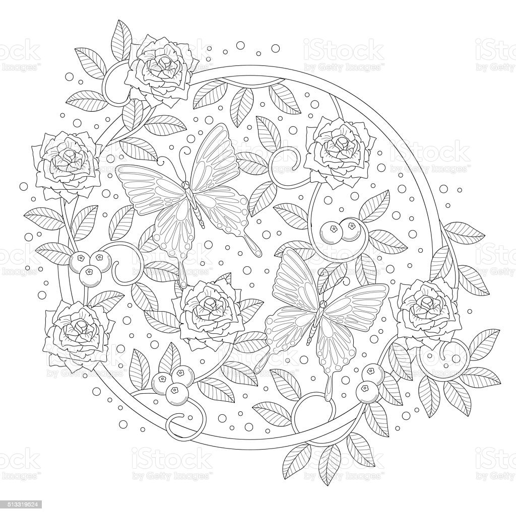 Butterfly coloring book vector art illustration