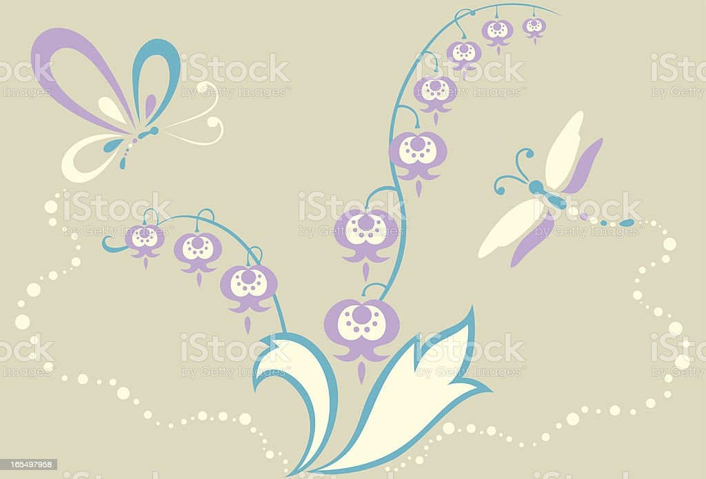 Butterfly, Dragonfly and Lily of Valley Flowers royalty-free stock vector art