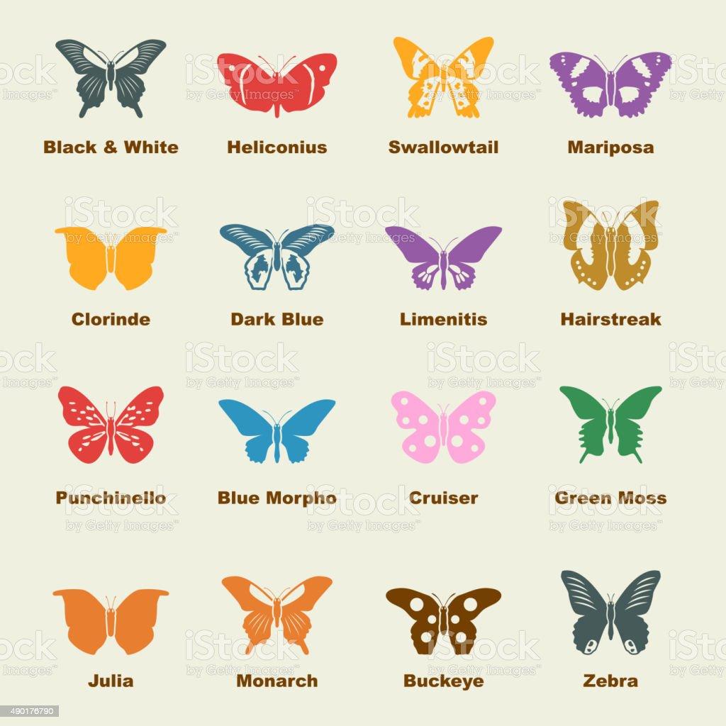 butterfly elements vector art illustration
