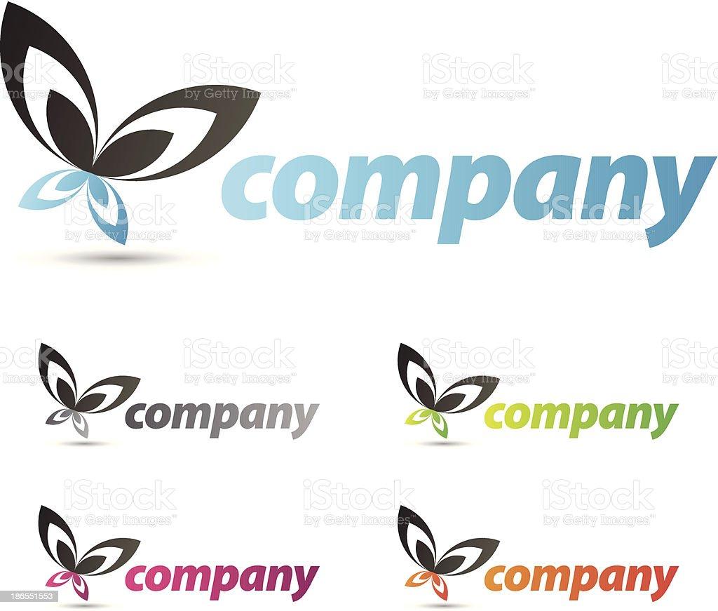 Butterfly emblem set royalty-free stock vector art