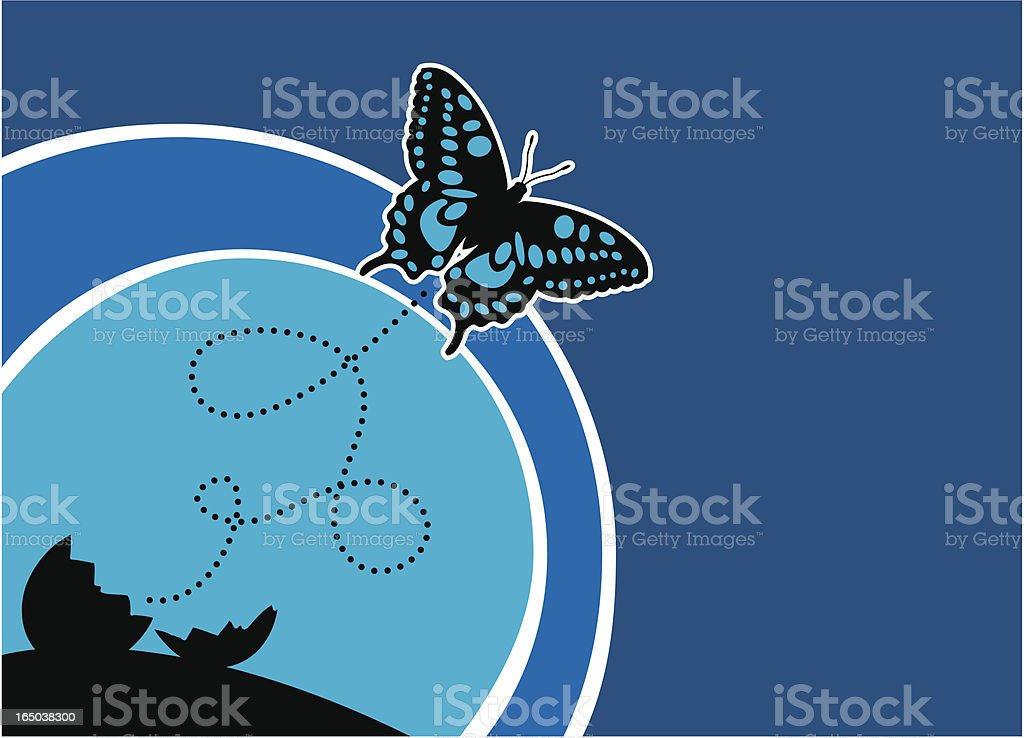 butterfly flies from an egg royalty-free stock vector art