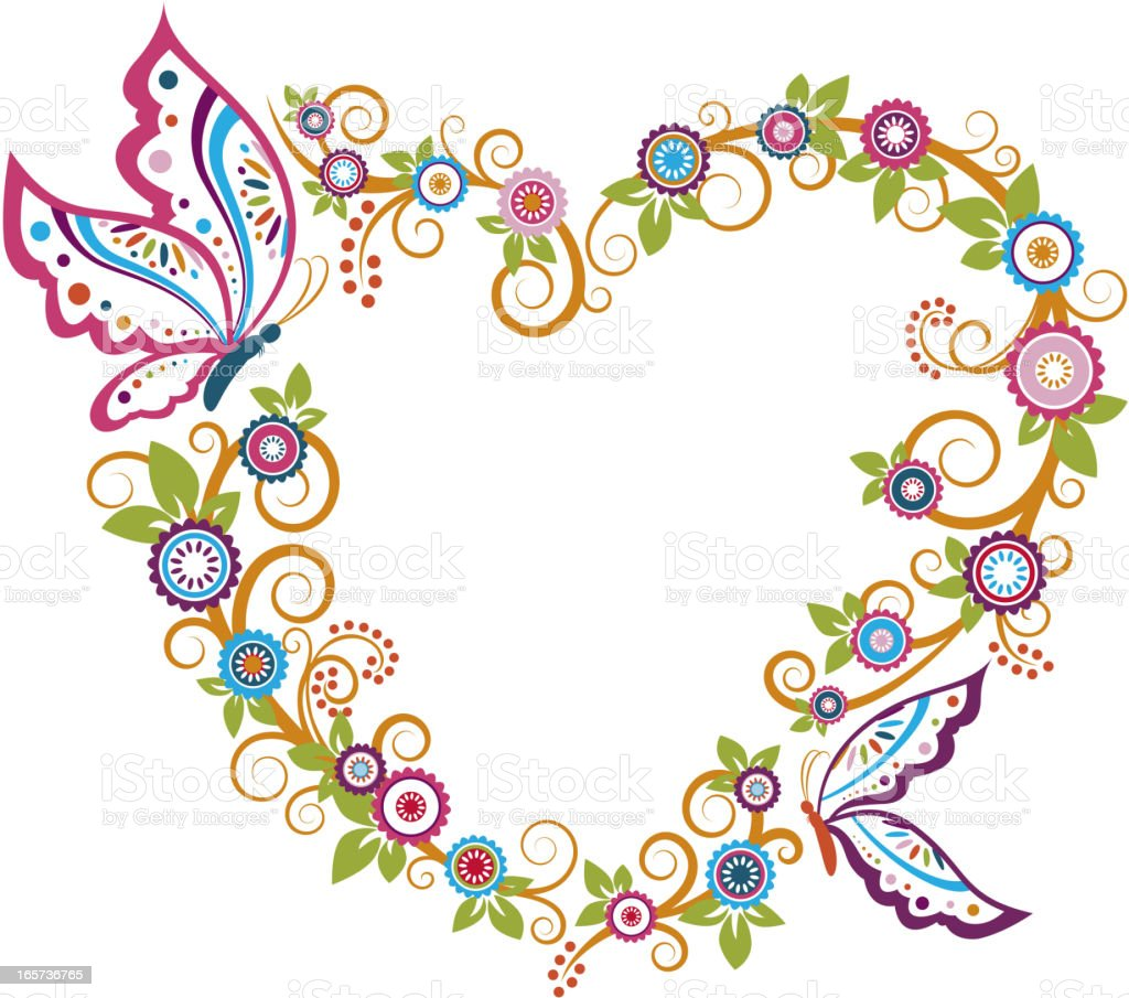 Butterfly Floral Heart Shaped Frame royalty-free stock vector art