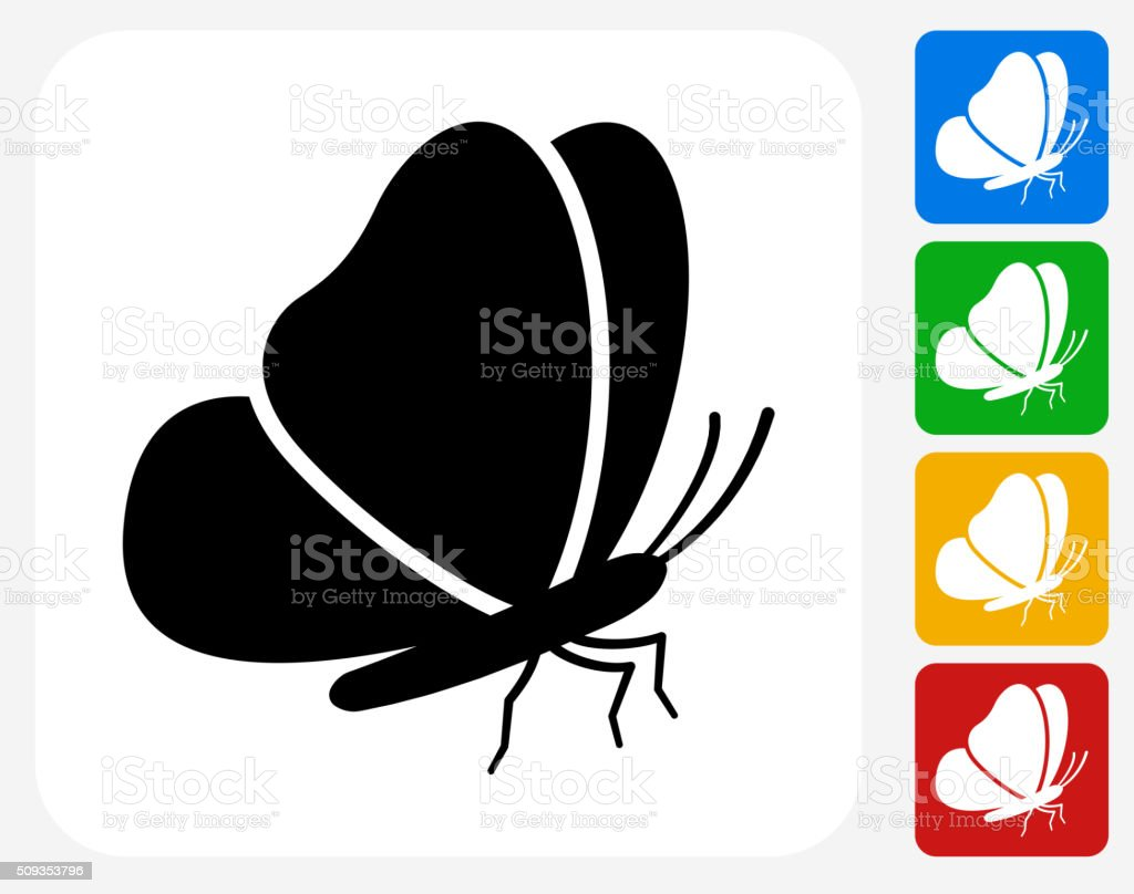 Butterfly Icon Flat Graphic Design vector art illustration