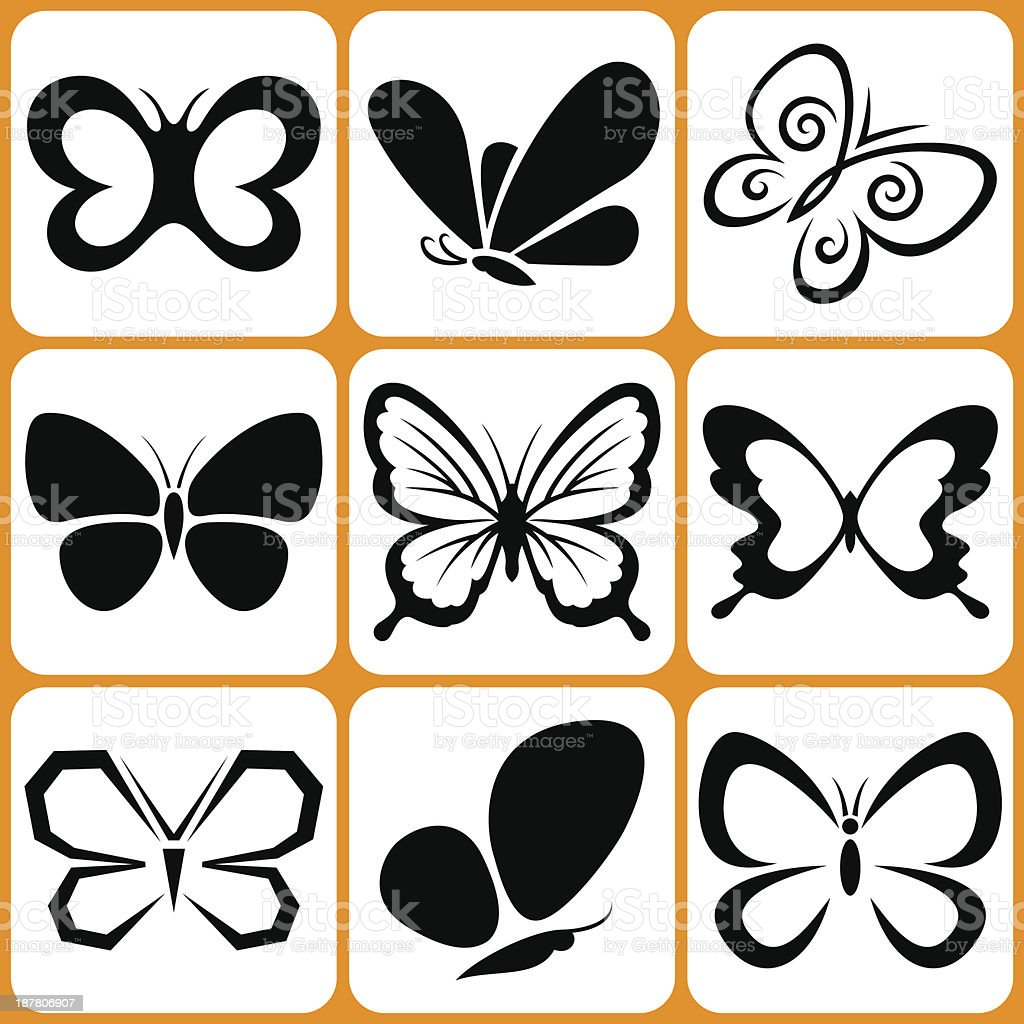 butterfly icons set vector art illustration