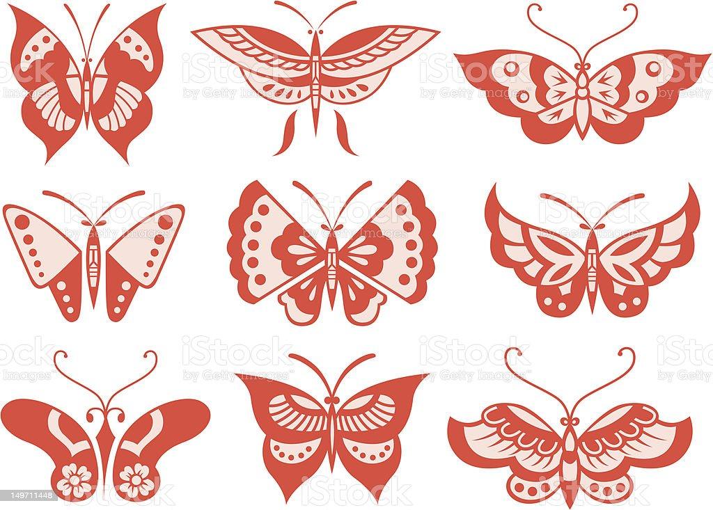 Farfalla collezione di illustrazione royalty-free