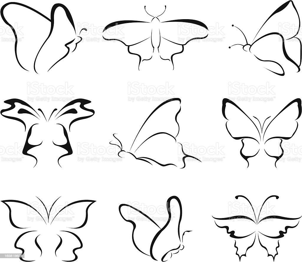 butterfly line art vector art illustration