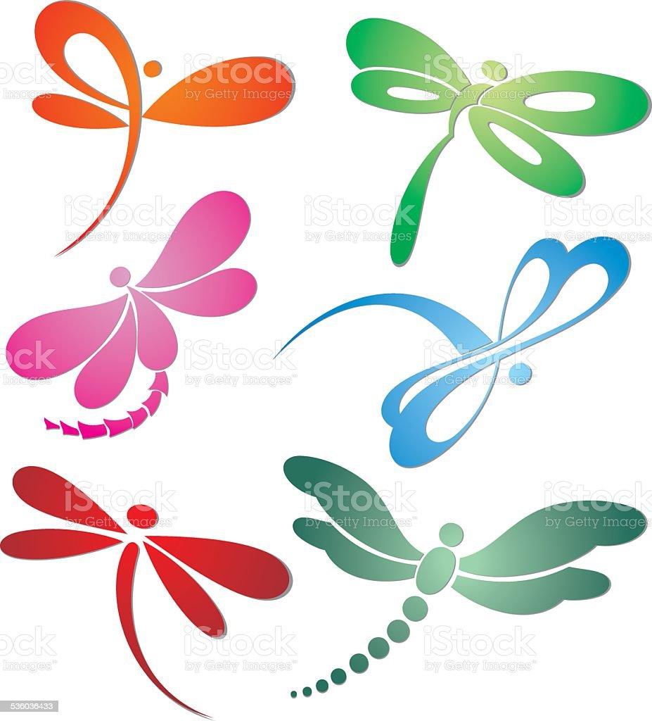 Butterfly(dragonfly) logo design vector art illustration