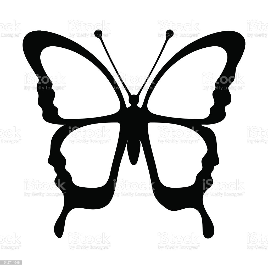 Butterfly, monochrome, coloring book, black and white illustration, hand-drawing royalty-free stock vector art
