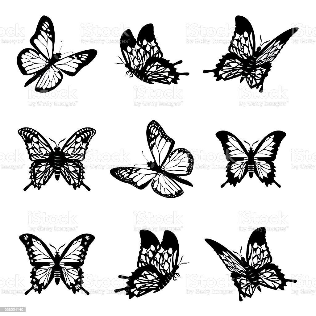 Butterfly of silhouette icon set vector illustration. vector art illustration