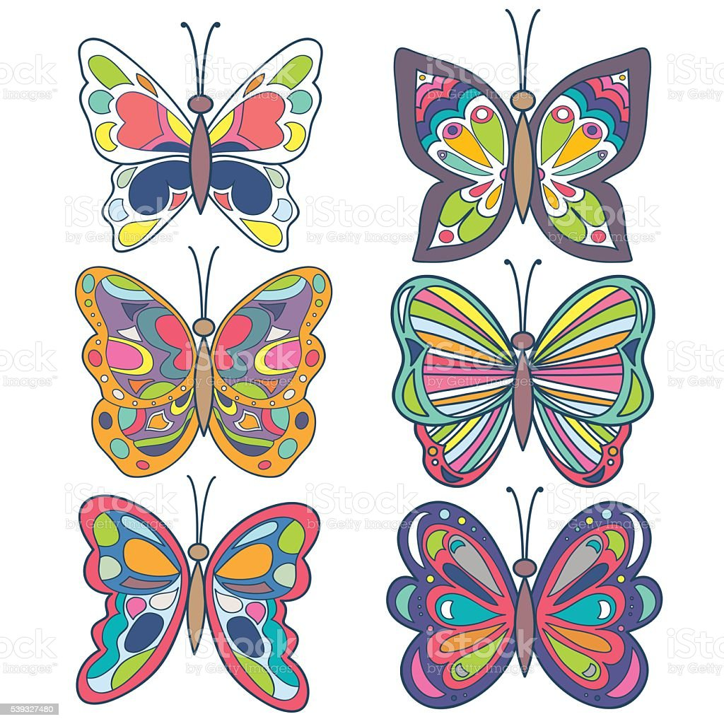 Butterfly set. Colorful beautiful butterfly collection. Butterfly isolated on white. vector art illustration